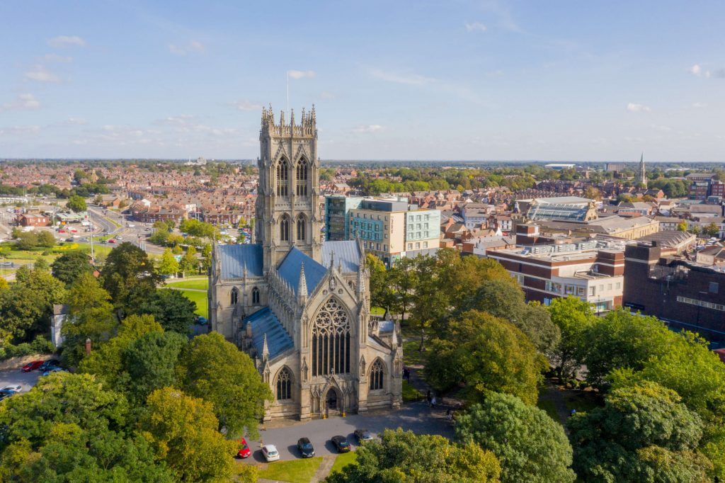 photograph of large church showing surrounding town centre area of Doncaster South Yorkshire
