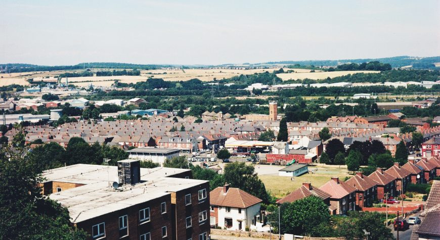 High Angle Shot Of Townscape in Rotherham Against Sky